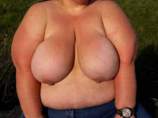 Big tits out in public
