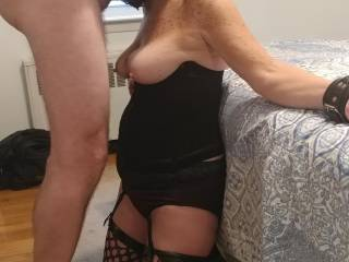 Love getting a BJ when she's in bondage..