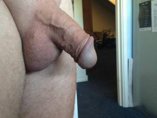 Smooth balls, relaxed cock but that vein shows I\'m ready at any time.