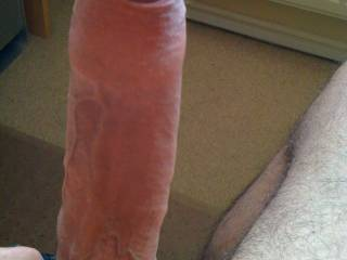 My erect uncut cock, ready to blow its thick load