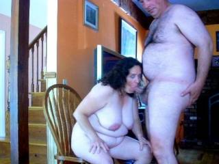 set the cam on timer and rush my hard cock into my wife\'s mouth so she can look up at the camera with her face filled