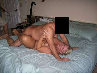 Mrs Daytonohfun getting fucked by the second guy in her 3 man mini gang bang.  This guy filled her pussy right after the picture was taken for her second load of the day.  His creampie picture has already been posted