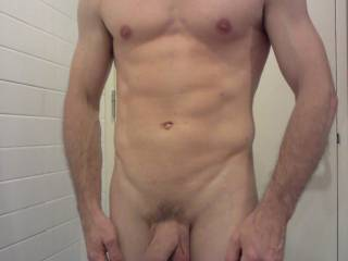 I'm already on my knees!!  With my fingers all over your abs, chest, and nipples... and my teeth gently brush across the tip of your cock as I suck it deep!!