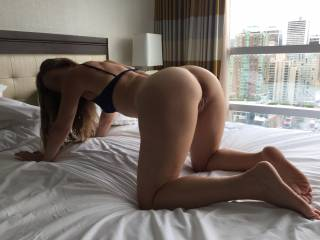 Just look at her nice round ass!! She wants to back up on your cock!!