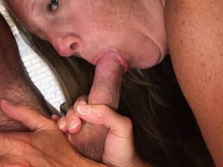 Sucking my boyfriend's cock again. I think he likes that more than fucking me. Quick poll, blowjob or fuck me????