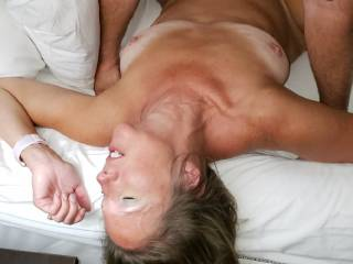 My boyfriend fucking me with his big cock. He fucks me so good and the hubby likes to watch. Would you watch or join in?