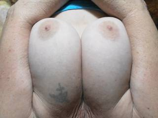 Photos from a recent lazy Sunday afternoon session with boyfriend. Do you like my big tits, would you like to tit fuck them?