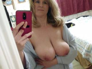 """sent a pic to hubbys friend by accident. We were going out with him that night.  ha ha ha lol. I only realized it when he sent me a dick pic back. Hubby said """"I guess you gotta fuck him now"""". One thing lead to another and ended with his dick in my mouth."""