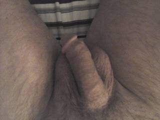 Last night his soft floppy dick laying on his big balls in bed for a  rest.
