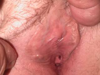 Spreading the wife\'s tight pussy.