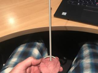 Playing with Knitting Needles to see the biggest size I can fit. Managed 7mm