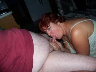 My slutty wife Stacy sucking my buddy Craig\'s cock