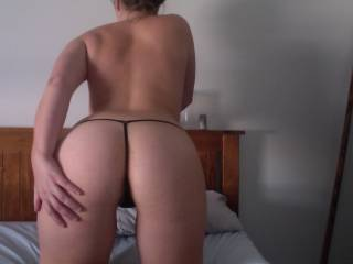 Wow, gorgeous looking ass! Let me pull this sexy thong aside, grab firmly your sexy hips and uses the strengh of my arms, shoulders and legs to hit your wet pussy deep and hard!