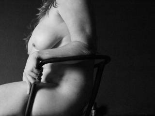 Seated at bondage session