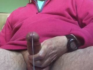 Was feeling a little horny this morning.  So whipped out my cock, oiled it up and gave it a rub.  How does it look to you?