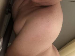 18 year old bubble butt slutt eagerly awaits another cock in the shower. Who wants to tribute me (other pics available)