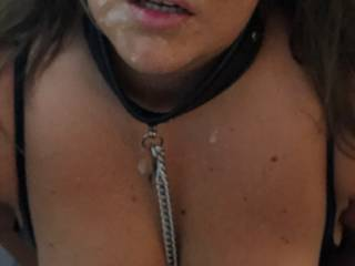 I told my boyfriend I wasn't a toy yesterday so he decided to teach me a lesson by cumming all over my face after fucking & slapping my arse whilst I wore my collar, lead & nipple clamps. Now I know I'm his fucktoy...anyone else want to play?