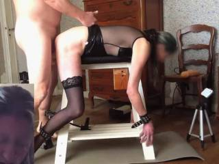 Bondage and big dildos pt 4 of 5 - Still with her tied to the bench, part 4 is more big dildos, DP with a dildo and my cock, then a DP with the machine with some A2M and then more anal and A2M.