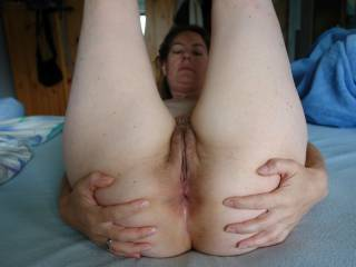 My wife shows off her asshole