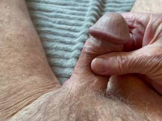 Today's anatomy lesson: Mr F squeezes his penis to feel the very firm corpus spongiosum at its center, which prevents the urethra from pinching closed when he's erect, thereby maintaining the urethra as a viable channel for ejaculation. From Mrs. F