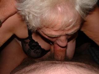 My 65 year old girlfriend sucking me off.