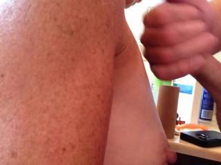 My wife caught me jerking off and wanted to know if there was anything she could do to help. I asked her to take her shirt off and let me cum on her awesome small tits. Not as good as her wonderful BJ\'s, but sometimes you have to take things into your own