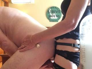 Your wife has a cute tiny little ass. I would love to have been fucking her in the ass while she was fucking you in the ass