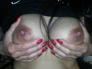 sexy nails on sexy tits