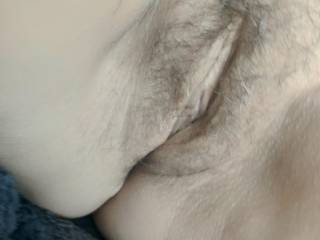 A closeup of my wifes hairy pussy