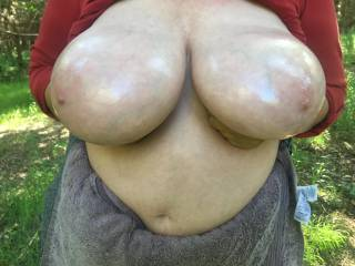 On display - held up (called a \'hand bra\') to show the oil she put on