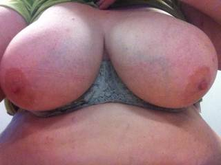 Titties needed to be free of their bra bonds at work. So they popped out to play ;)