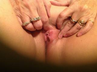 Very Nice looking pussy!  Would you mind if hubby trucks your wife while you're fucking me?  M