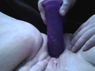 Love to squeeze my pussy around big purple