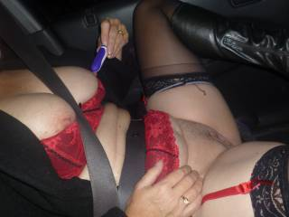 Hubby took me toy shopping .Thought I would try them out on the way home as well as flash a few truckers and cars on the motorway .