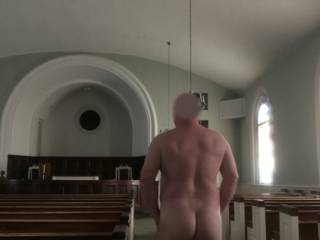 I thought Alabama would beat Clemson.  I was wrong.  The bet was that the loser would take some nude pictures in a place you would not normally see someone naked.  After failing to find a place of business, I was told to use this old country church.