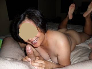 Sexy Rocky, palying with Joe's cock...her smile tells the story...she loves a cock in her face!!!