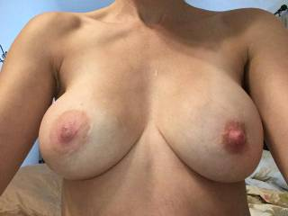 I asked her to tease me! This is what I got while in a board meeting! Would love somebody to cum on these with me!