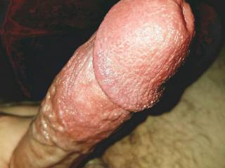 Stroking my throbbing cock, near explosion.   Can I stretch your ass, mouth, or cunt with my big mushroom head?