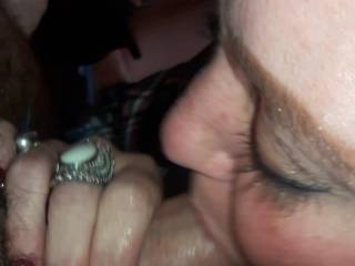 Sucking my husband\'s big hard cock until he fills my mouth with his hot cum
