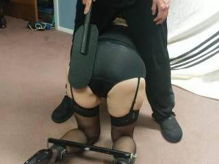 The wife getting her weekly spanking before a bondage session! Who thinks she still has a spankable/fuckable ass?