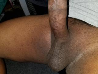 Precum dripping down the shaft of my bbc means it\'s ready to be ridden...climb on!