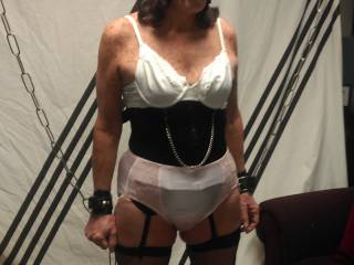Put her bra back on over the tit rings and nipple clamps! She begged me to take it off!