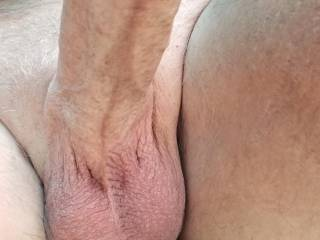 A look from below. Love having my balls licked and sucked almost as much as my cock.