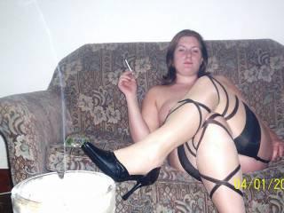 mmm love the nylons, and you smoking