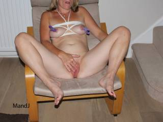 pussy stroking, tits bound, nipples pegged