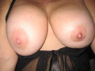 Wrap those hot tits around my cock and I would fuck them for days...  I bet my cum would look great dripping off of them..