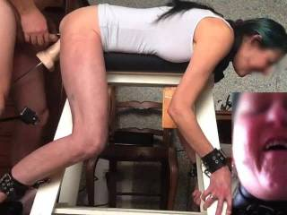 Big Dildos 1 pt 3 of 4 - Still tied to the bench this part is her being fucked by the machine while she sucks me, then a DP with me in her ass till she cums.  I think she enjoyed that...