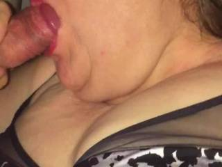 Wife polishing my knob. She I cum on her face or tits next time?