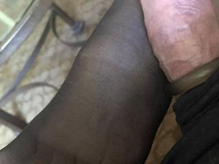 more fun with his cock and my painted toes in hose