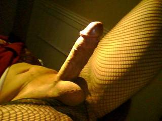 Just had to let my cock out from the fishnet panty hose. Anyone want to touch or stroke my cock? I'm ready!!
